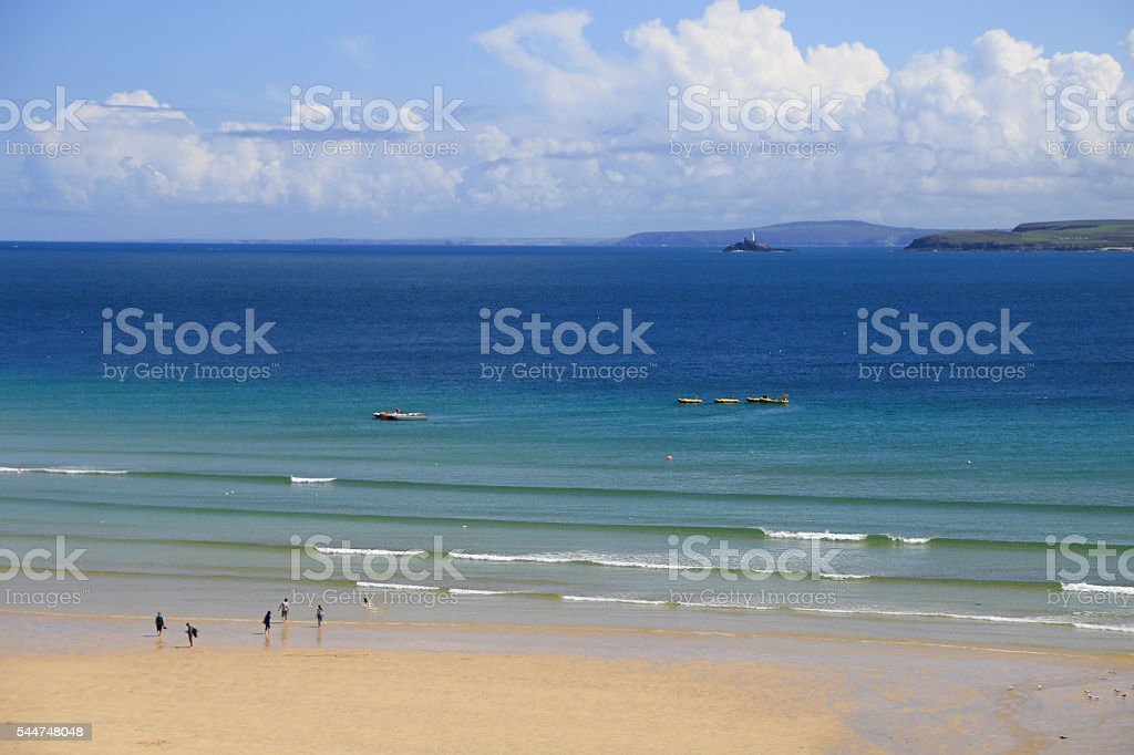 St Ives; Cornwall - England; beach, tide stock photo