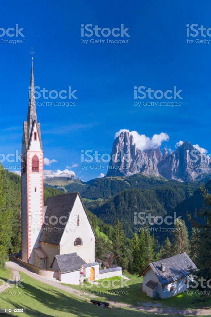 St Jacob church above Val Gardena in Dolomites, South Tyrol stock photo