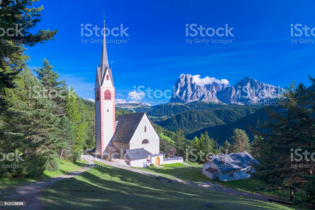 St Jacob church above Val Gardena in Dolomites - XXL Panorama stock photo