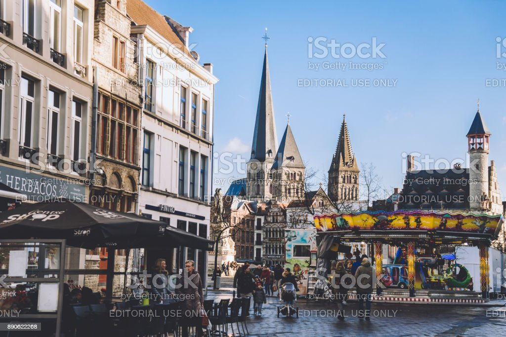 St. Jacobs Church and Christmas Market in Ghent stock photo