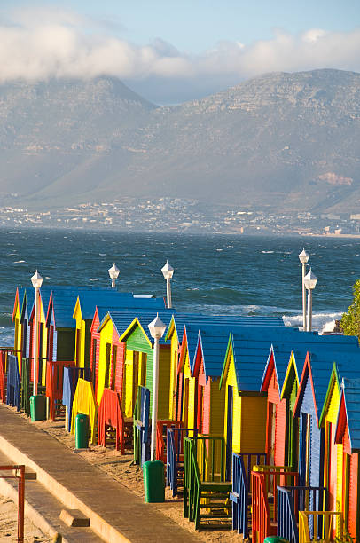 St James colourful beach huts – Cape Town, South Africa stock photo