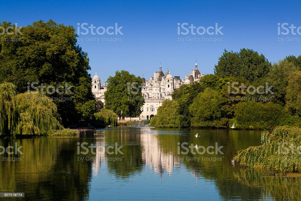 St. James's Park, Lake and Clear Blue Sky, London, England. stock photo