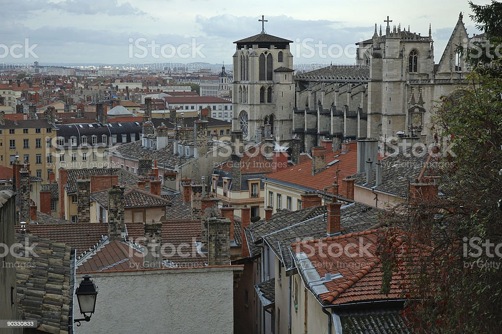 St Jean Cathedral over the roofs (Lyon France) royalty-free stock photo