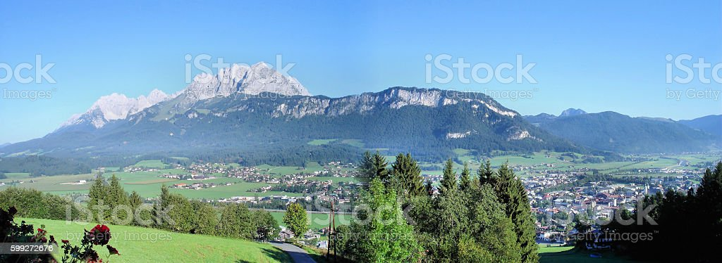St. Johann and the Kaiser Mountains stock photo