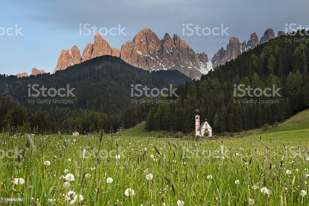 St. Johann Church, Dolomites stock photo