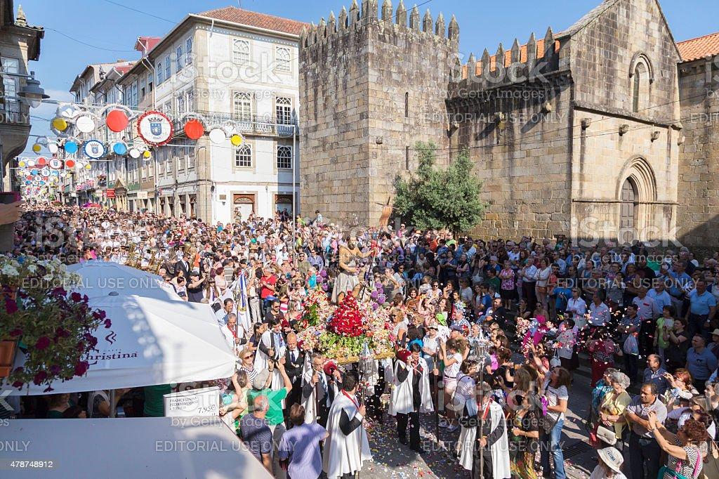 St John 'São João' procession with crowds in Braga stock photo