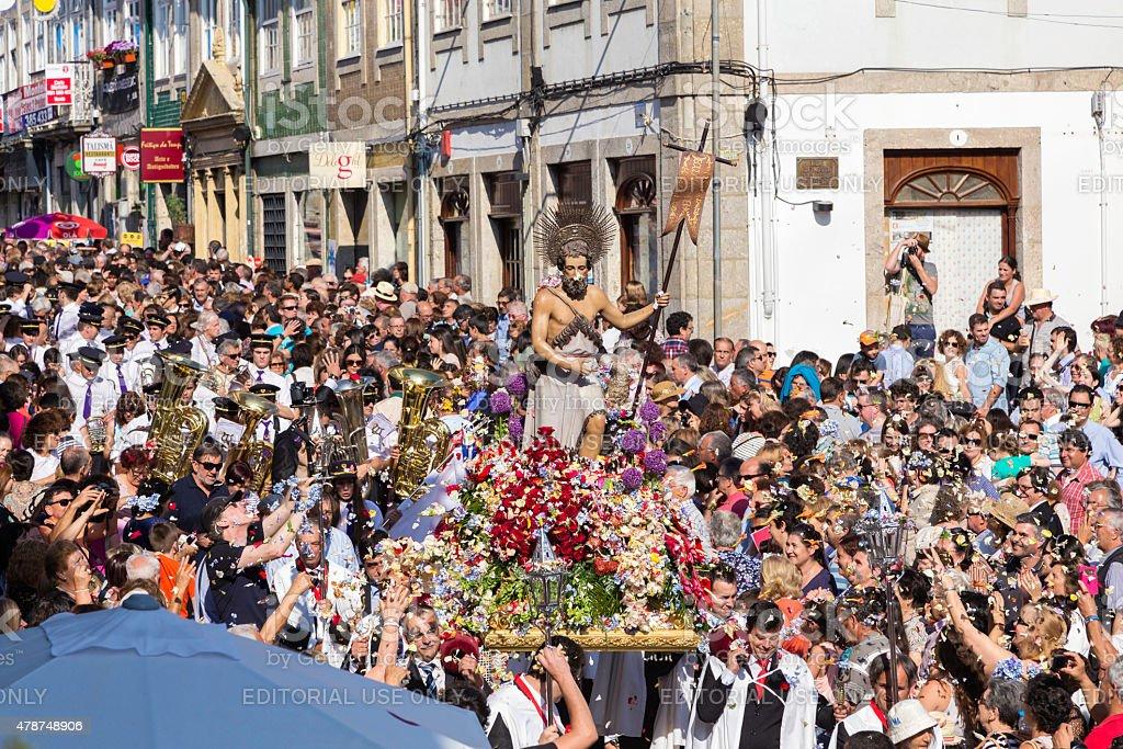 St John 'São João' procession with crowds of people stock photo