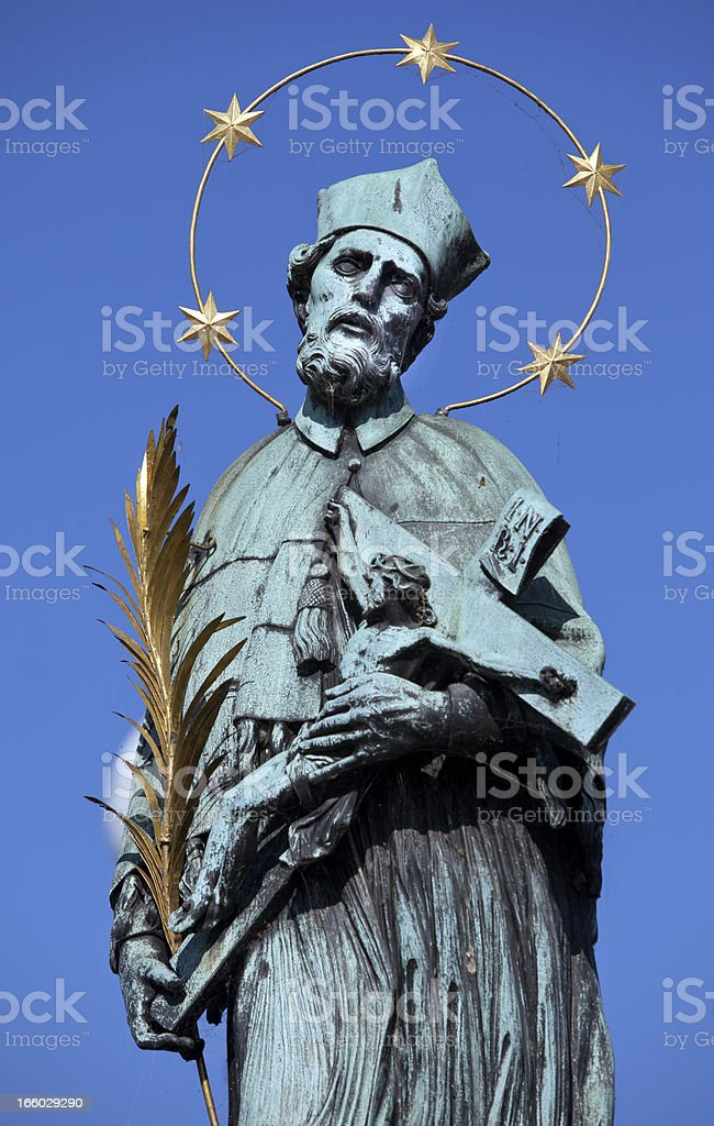 St John Statue on Charles Bridge in Prague stock photo
