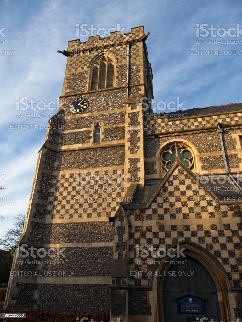 St. John the Baptist Church, Barnet at dusk stock photo
