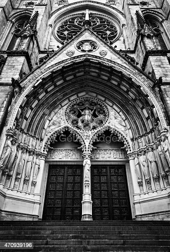 A Black and White Frontal view shot of the Cathedral Church of Saint John the Divine in New York city, USA.