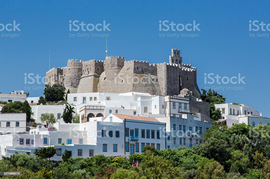 St. John the Evangelist Monastery, Patmos Greece stock photo
