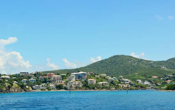 St. John, US Virgin Islands-- Island with Homes stock photo