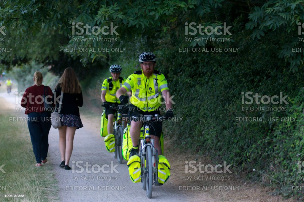 St Johns Ambulance patrol on cycles stock photo
