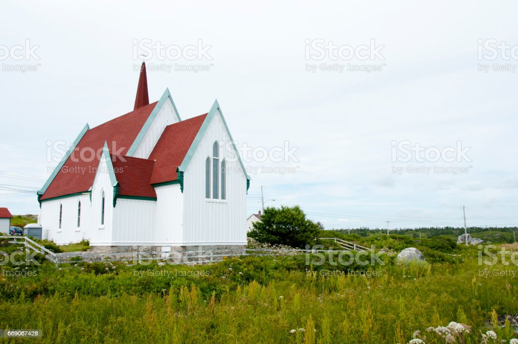 St Johns Anglican Church - Peggys Cove - Canada stock photo