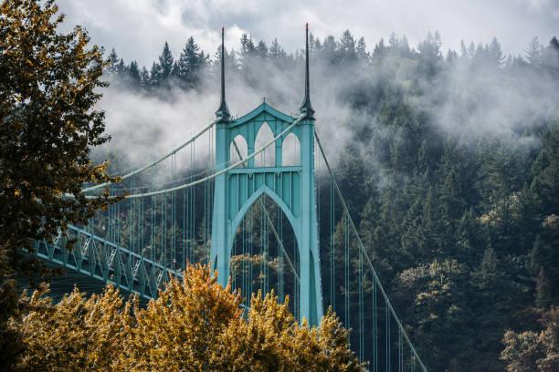 St Johns Bridge in Autumn stock photo