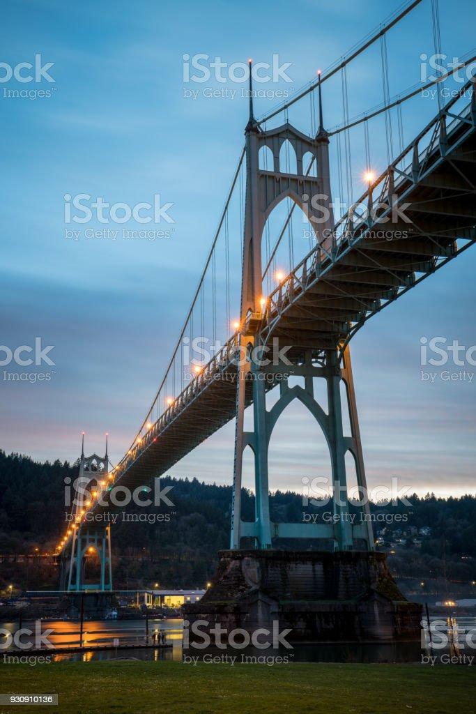 St Johns Bridge in Portland Oregon at Sunset stock photo