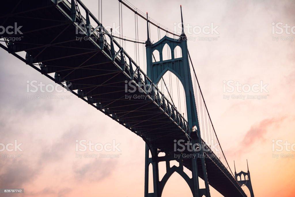 St. Johns Bridge in Portland stock photo