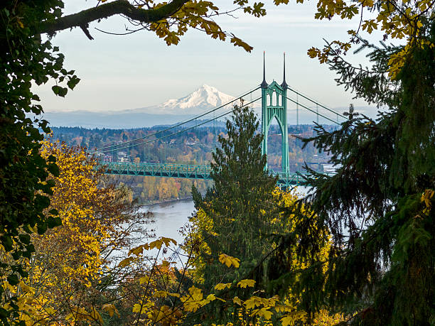 St. Johns Bridge Oregon Autumn Colors Mt Hood Horizontal stock photo