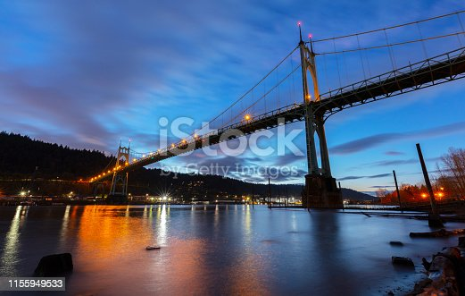 The St Johns Bridge over the Willamette River in Portland, Oregon.