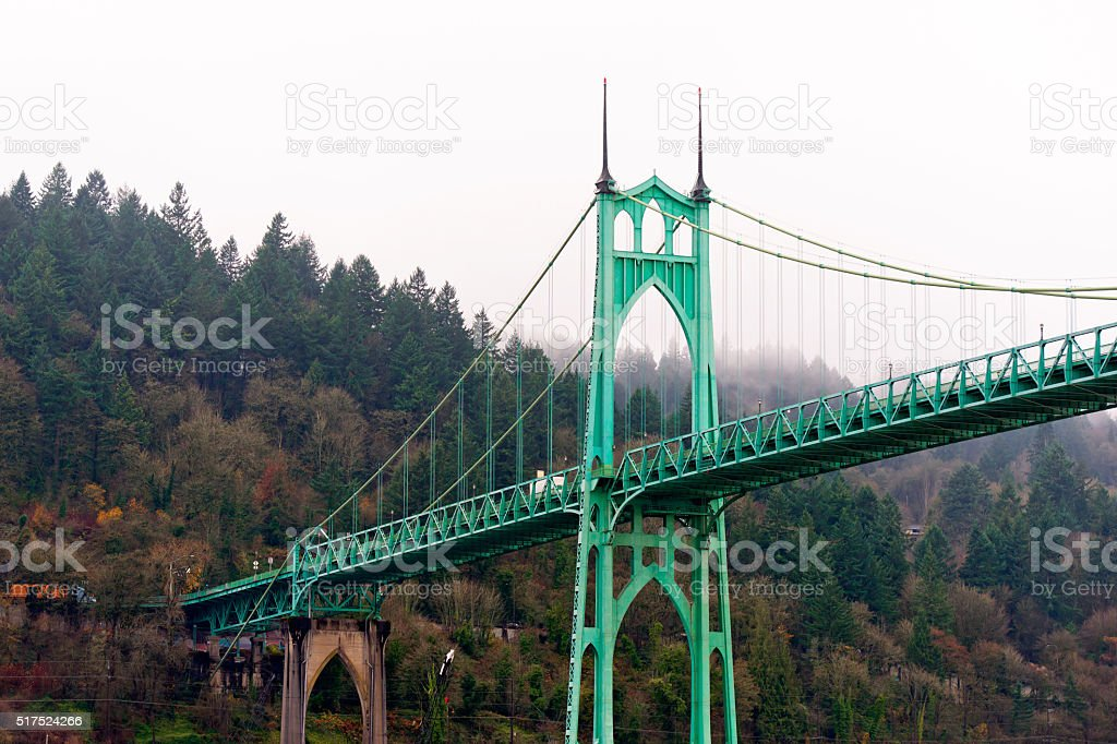 St Johns bridge Portland Oregon arches gothic style stock photo