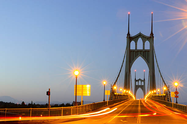 St. Johns Bridge Portland Oregon Time Exposure Evening Traffic Horizontal stock photo