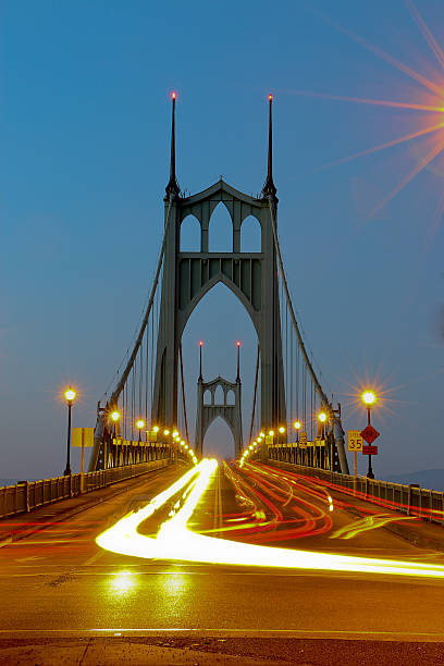 St. Johns Bridge Portland Oregon Time Exposure Evening Traffic Vertical stock photo