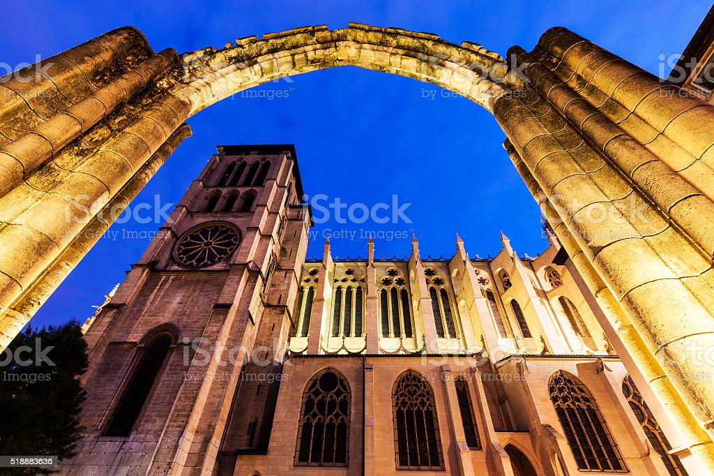 St. John's Cathedral and old ruins in Lyon stock photo