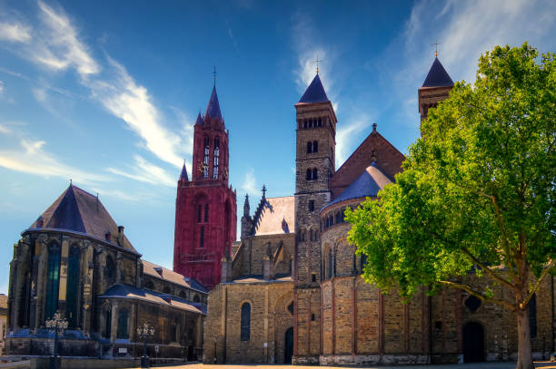 St. John's Church (Sint-Janskerk) and Basilica of Saint Servatius (Sint Servaasbasiliek), Maastricht, Netherlands stock photo