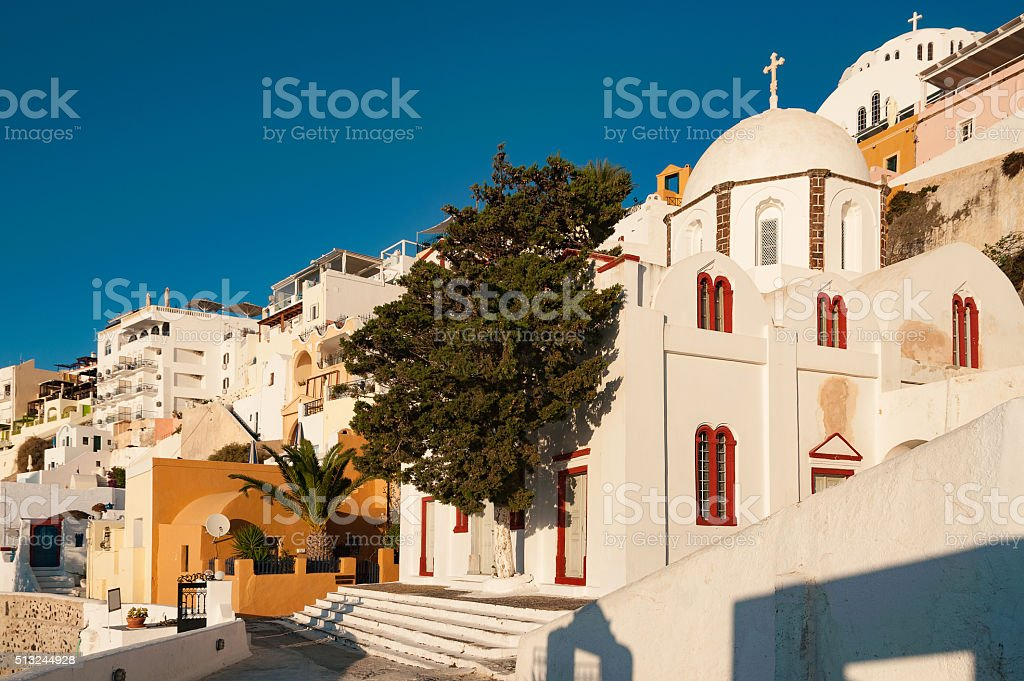 St. John's church from Fira, Santorini, Grece stock photo