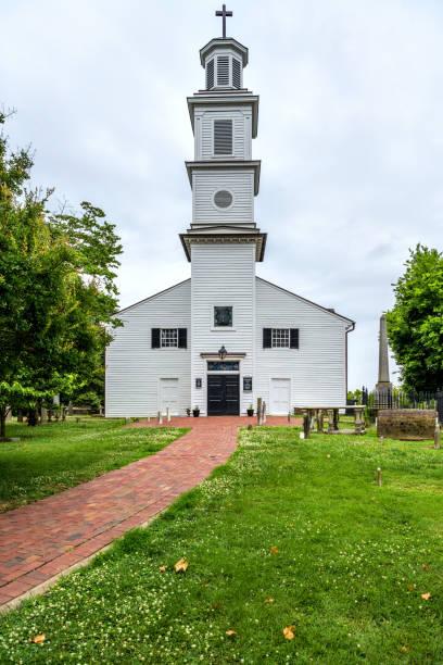 St. John's Episcopal Church - A cloudy Spring day view of the historic St. John's Episcopal Church, Richmond, Virginia, USA. stock photo