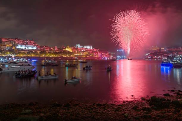 St. John's fireworks stock photo