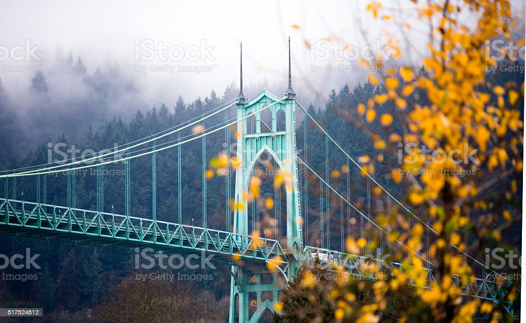 St Johns gothic style bridge Portland Oregon beautiful autumn stock photo