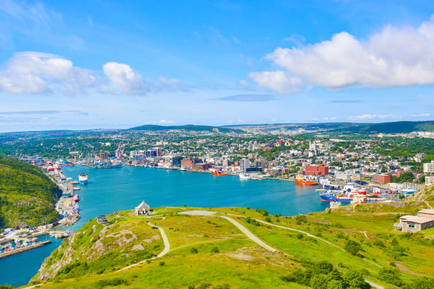 St. John's Harbor and Downtown from Signal Hill stock photo