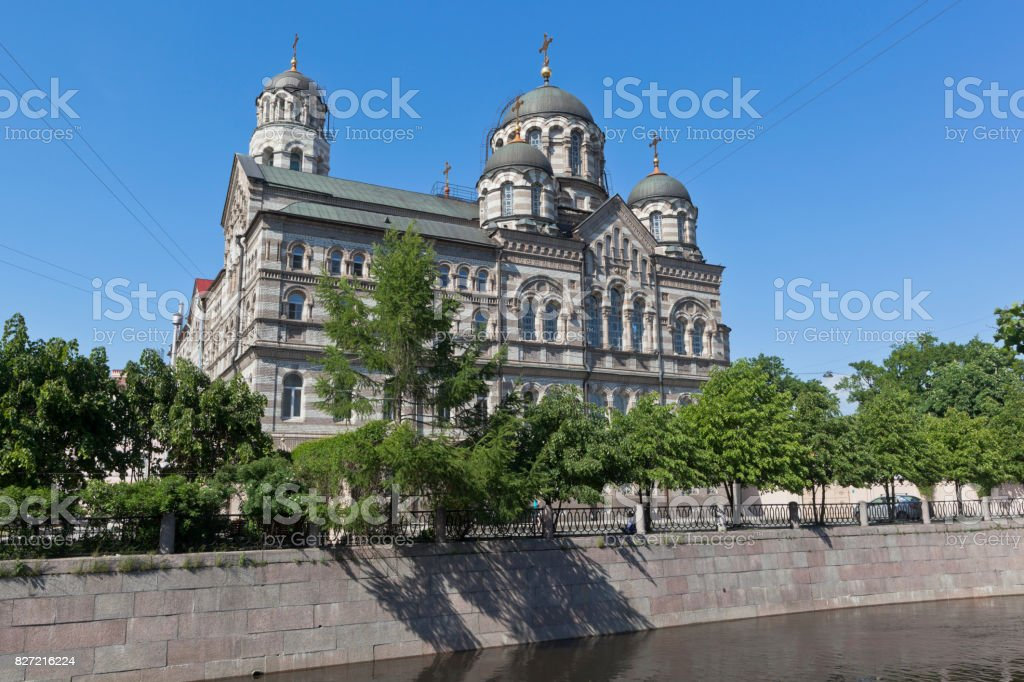 St. John's Stauropegial Convent on the River Karpovka in St. Petersburg stock photo