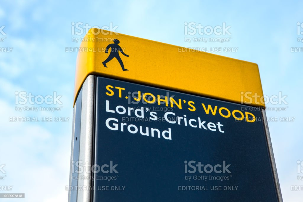 St. John's Wood and Lord's Cricket Ground Sign in London, UK stock photo