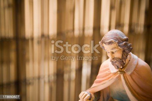 St. Joseph statue close up.