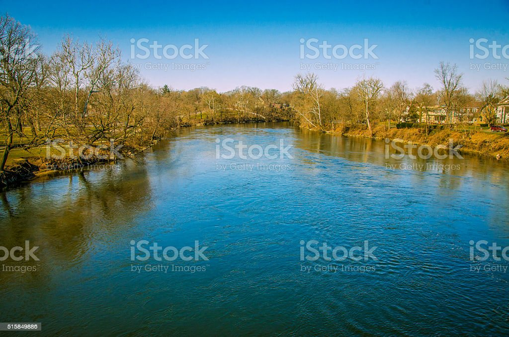 St. Joseph's River in South Bend Indiana stock photo