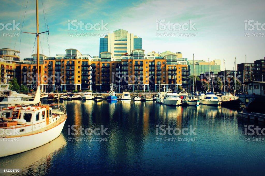 St Katharine dock in London, United Kingdom stock photo