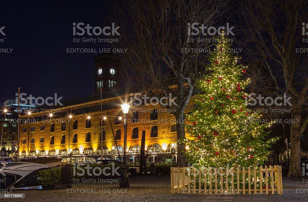 St. Katherine Docks in London During Christmas stock photo