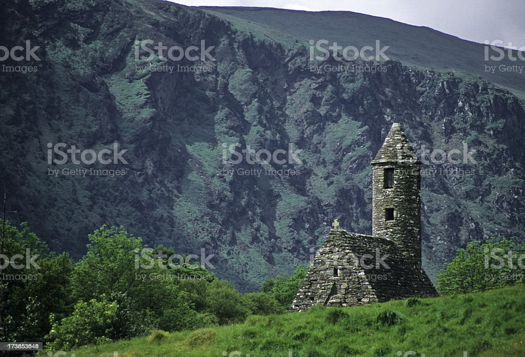 St. Kevin's church with round tower in Ireland stock photo