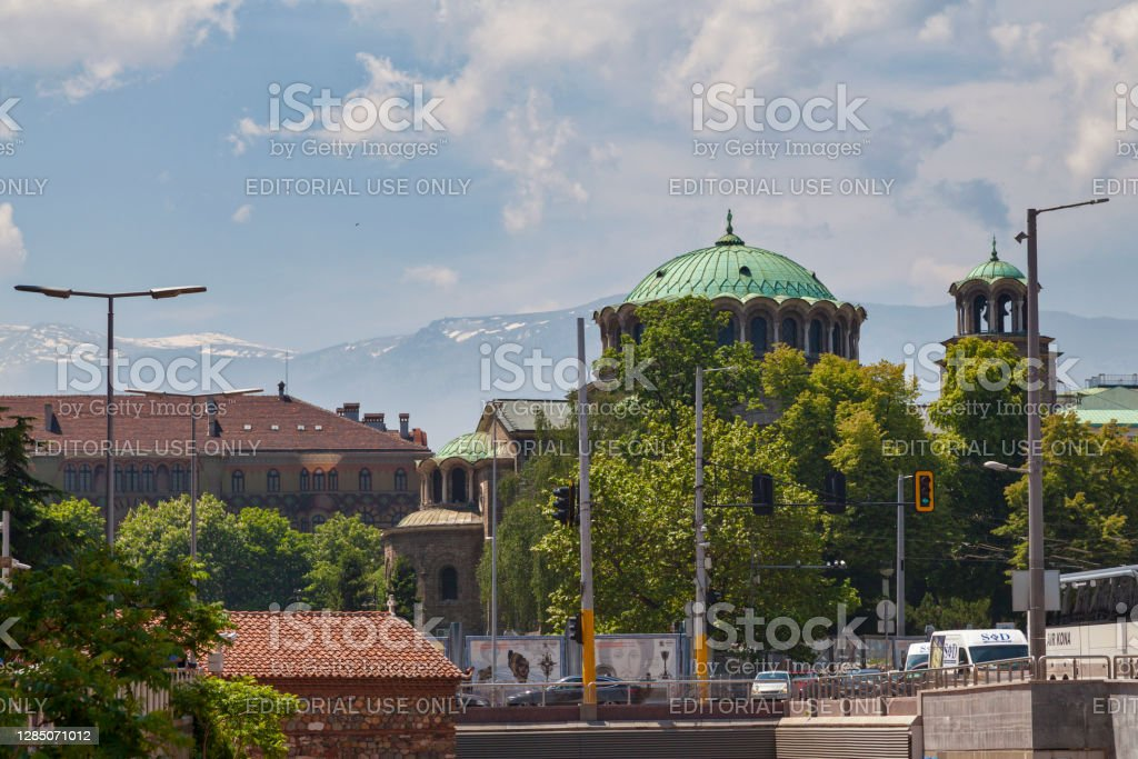 "St. Kyriaki Cathedral Church in Sofia Sofia, Bulgaria - May 18 2019: The St. Kyriaki Cathedral Church (Bulgarian: Храм ""Св. Неделя"") is a ornate, domed Orthodox church featuring an elaborate interior covered with murals. Architecture Stock Photo"