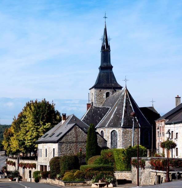 St. Lambert's Church. Hargnies, France stock photo