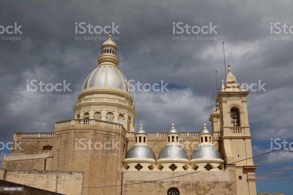 St. Lawrence Parish church in Gozo Island Malta at Mediterranean Sea - Royalty-free Archipelago Stock Photo