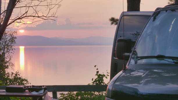 St. Lawrence River Rimouski Quebec, Canada Wonderful sunset camper RV trip motorhome summer vacation. stock photo
