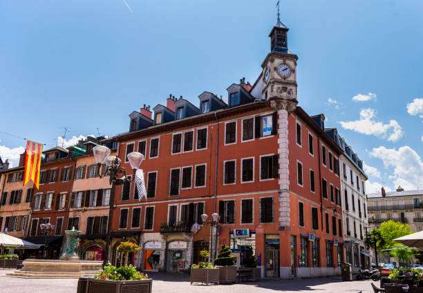 St. Leger And Clock Tower (Chambery; Auvergne-Rhône-Alps; Savoy; France). stock photo