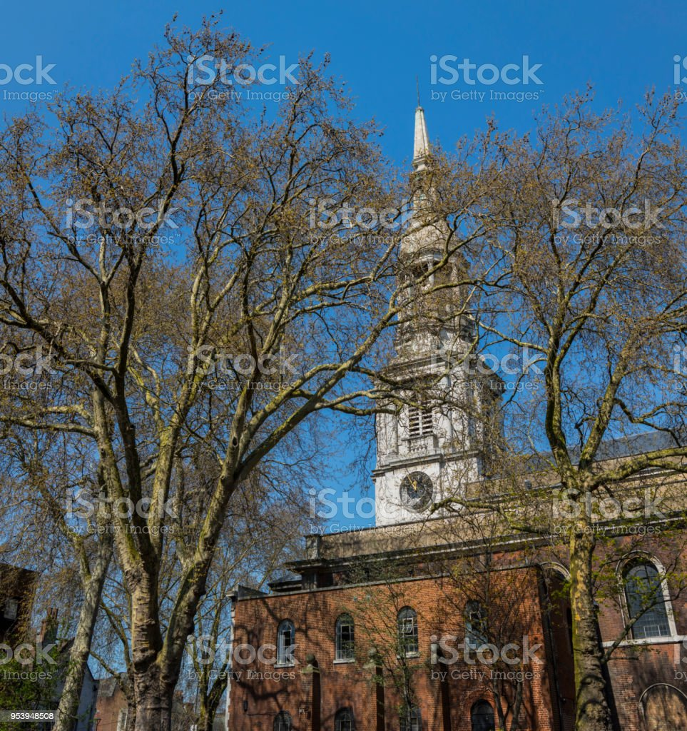 St. Leonards church in Shoreditch, London stock photo