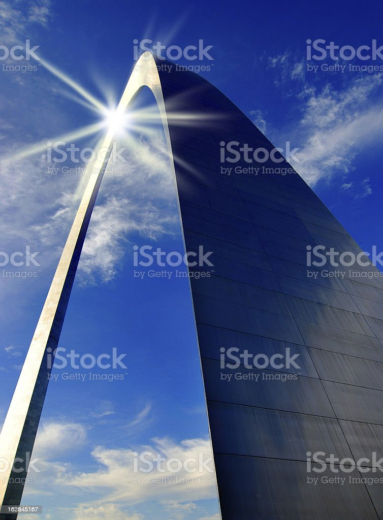 St. Louis Arch and Sun Reflection royalty-free stock photo