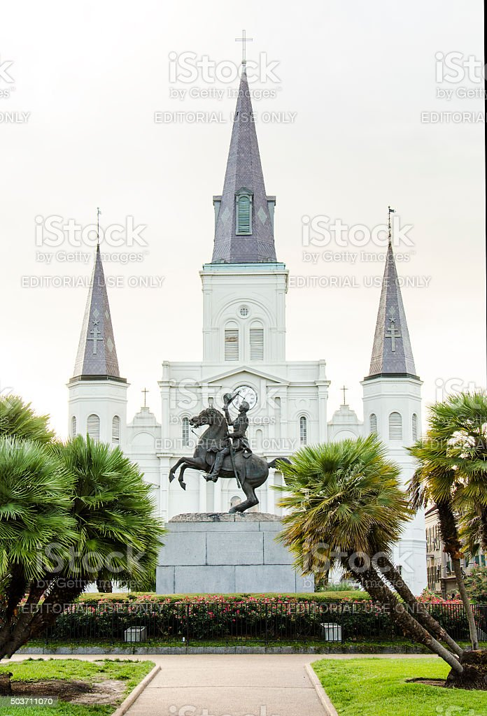 st louis cathedral and jackson square in new orleans stock photo
