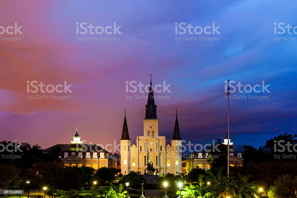 St. Louis Cathedral at Dawn in New Orleans, USA stock photo