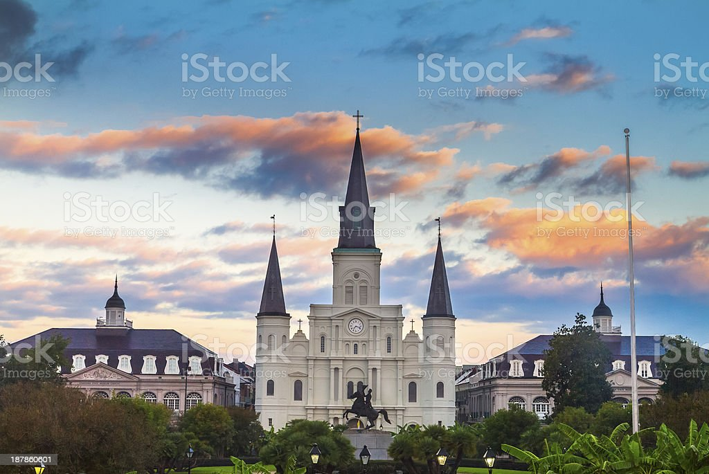 St. Louis Cathedral at sunrise stock photo